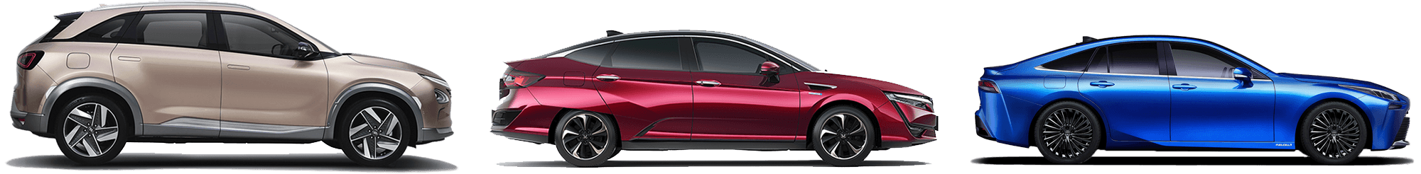 Toyota Mirai 2021, Honda Clarity Fuel Cell, Hyundai NEXO fuel cell electric vehicles powered by hydrogen